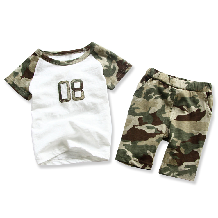 2016 summer children clothes outfits kids boy clothing sets cotton green camouflage shirts harem camo shorts pants clothes suits