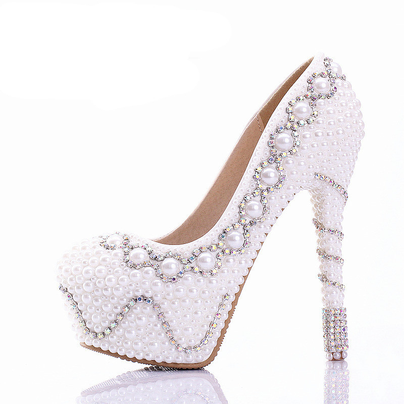 Wedding Shoes Colorful Rhinestone Bridal Shoes White Pearl Ultra High