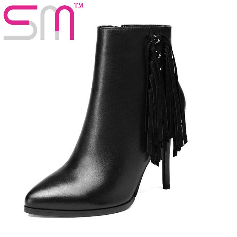 Фотография 2016 Fashion Tassel Rivets Ankle Boots Autumn Winter Boots Genuine Leather Add Fur Sexy Spool High Heels Shoes Woman
