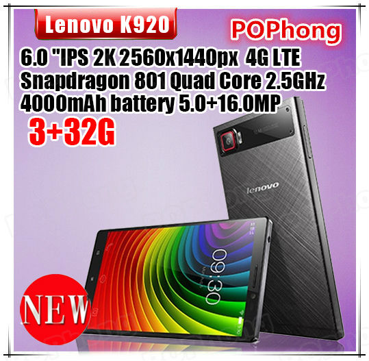 Lenovo K920 Vibe Z2 Pro 4G FDD LTE Phone 6'' 2560*1440 Qual-comm Snapdragon 801 Quad Core 2.5GHz 3GB+32GB 16.0MP(China (Mainland))