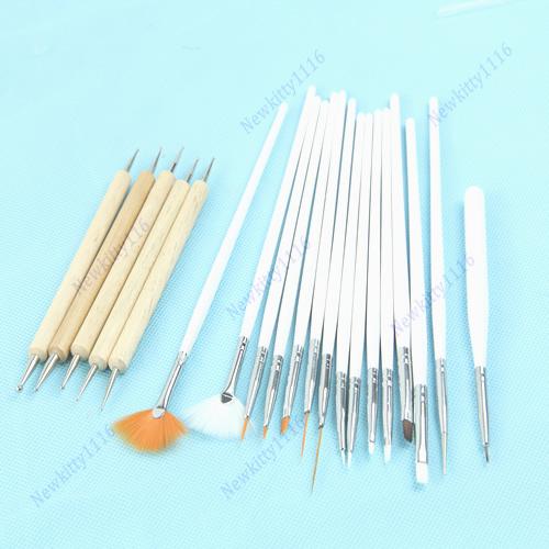 Set of 20pcs Nail Art Design Painting Dotting Pen Brushes Tool Kit Set Beauty Salon Free Shipping(China (Mainland))