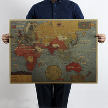 Vintage World War situation map poster detailed antique 70x51.5cm kraft paper poster decoration magazines free shipping 2302-15(China (Mainland))