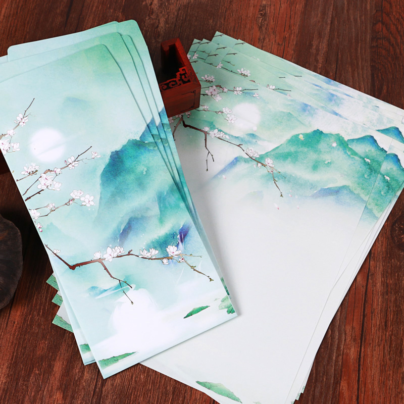 Original Design Chinese Style Moon Wintersweet Mountain Scenery Envelope Writing Paper Set For Card Scrapbooking Gift 15pcs/lot(China (Mainland))