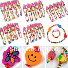 36Sets 6 styles! Wooden Bead Cute Kid Child Necklace Bracelet Jewelry Set Butterfly Heart Shape Children Bracelets Free SHipping(China (Mainland))