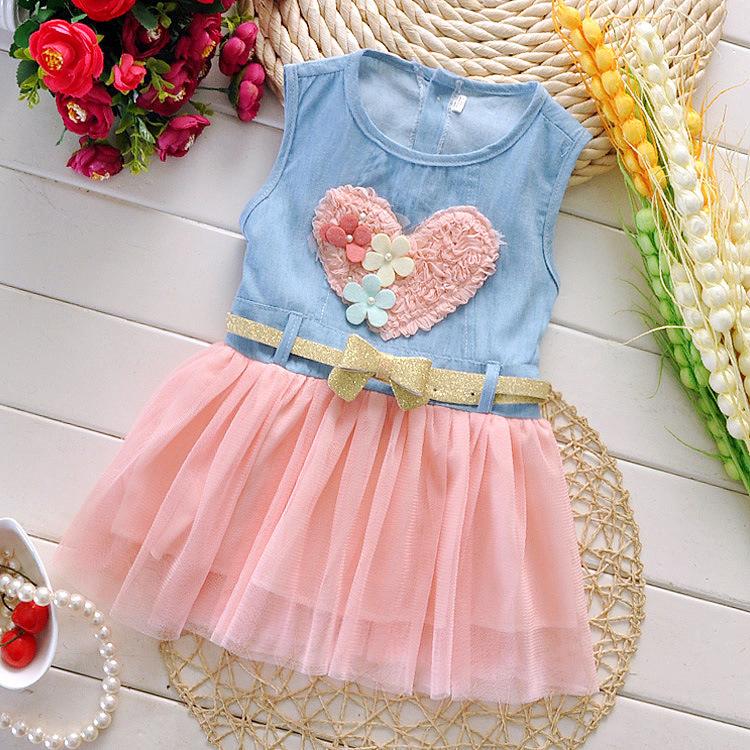 hotsale summer new girls baby flower chiffon heart dress love denim children's clothing wholesale children dress(China (Mainland))