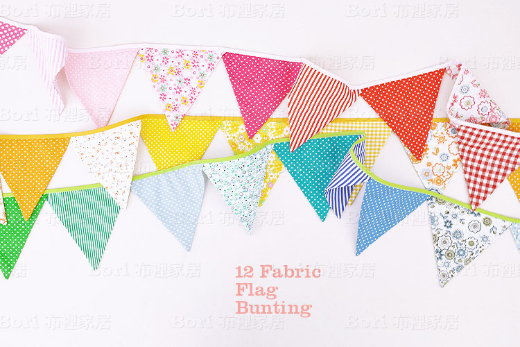 3 Styles 12 Flags Fabric Handmade Bunting Flags Banner
