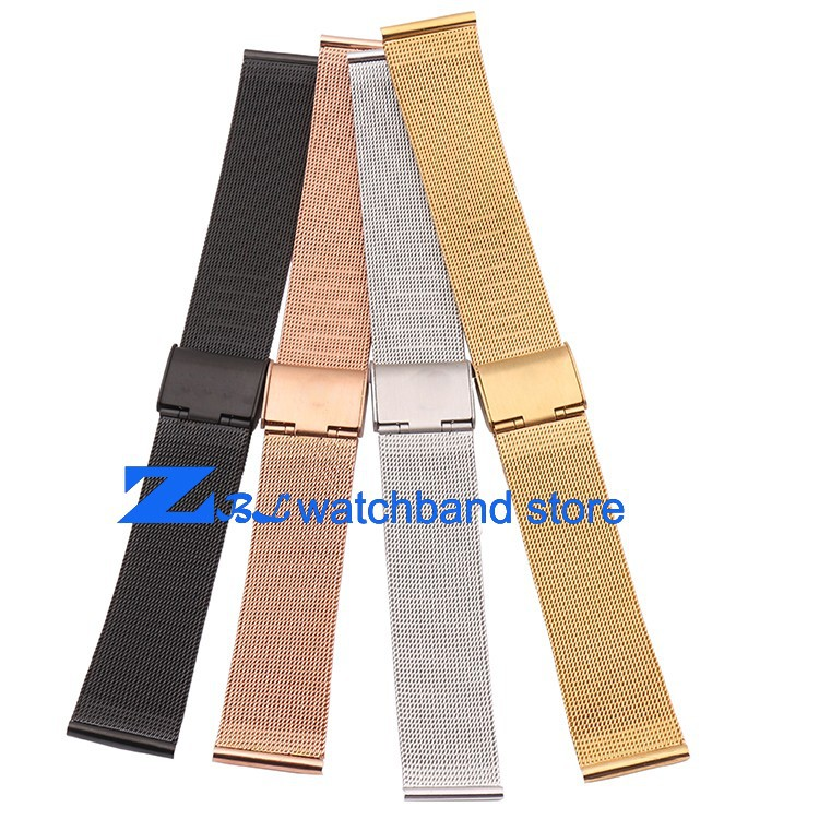 10mm 12mm 14mm 16mm 18mm 20mm 22mm 24mm Black Silver Gold Rose Gold ultra-thin Stainless Steel Mesh Strap Bracelets Watch Band(China (Mainland))