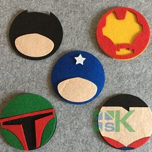 10 Piece Felt Dining Table Placemat Coaster Kitchen Accessories Mat Cup Bar Mug Superhero Film Series Drink Pads