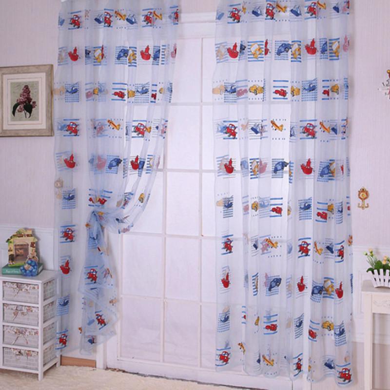 New Children Car Pattern Drape Panel Sheer Scarf Door Room Window Curtain 1*2M Hot