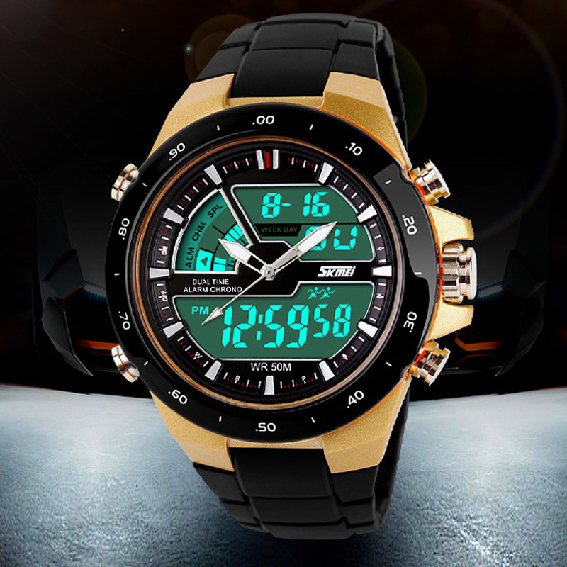 50M Waterproof Mens Sports Watches Relogio Masculino 2016 Hot Men Silicone Sport Watch Reloj S Shockproof Electronic Wristwatch(China (Mainland))