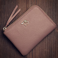 New Fashion Genuine Leather Small Wallet Women Solid Color Zipper Ultra thin Purse Ladies Elephant Ornament