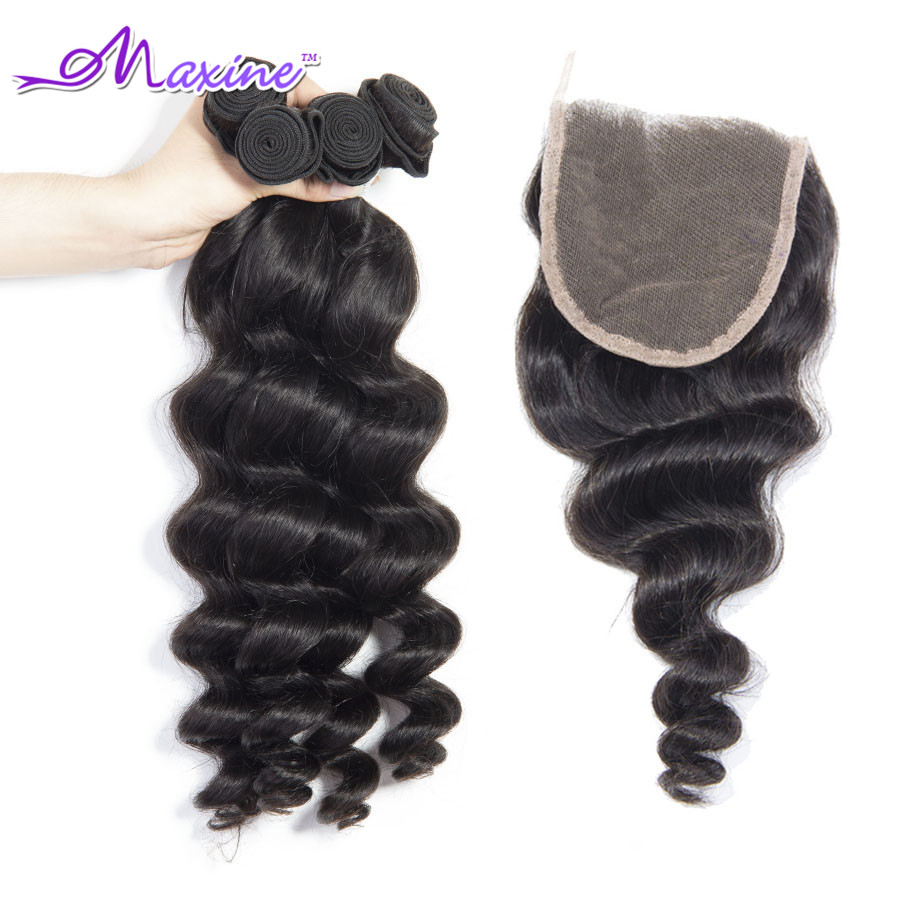 Гаджет  Lace Closure With Bundles 7A Brazilian Virgin Hair Weft With Closure 4 Bundles With Closure Loose Wave Hair Weft With Clousure None Волосы и аксессуары