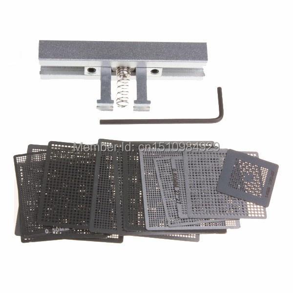 27pcs BGA Directly Heat Rework Reballing Universal Stencils Template + Reballing Station Jig Kit(China (Mainland))