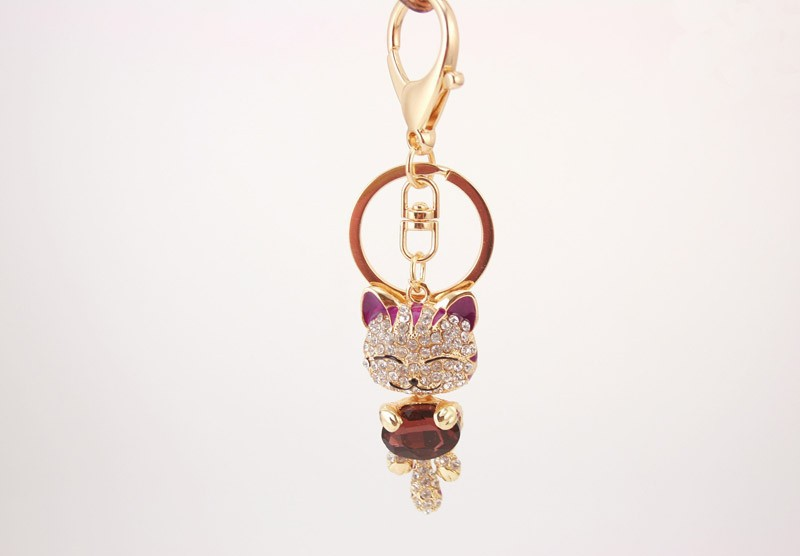 Crystal Rhinestone Metal Cat Keychain Novelty Souvenir Gifts Couple Key Chain Key Ring Hangbag Charms Pendant Chaveiros Carro
