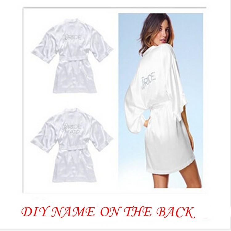 "6 Colors Silk Wedding Robes Short Satin Silk Bride Bridesmaid Robes White Bridal Dressing Nightgown ""BRIDE"" DIY Graphic on Back"
