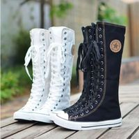 Free shipping brand new EMO Gothic PUNK Women Rock Boot Girls Shoes Sneaker Knee High Zip Laces Up
