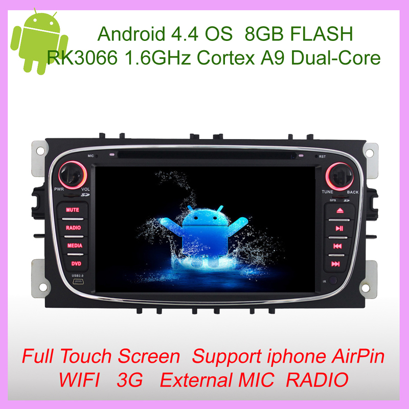 Capacitive Android 4.4 OS Car DVD Player GPS Navi fit for Ford Focus Mondeo Transit Connect USB/SD+Camera Video Input+Radio(China (Mainland))