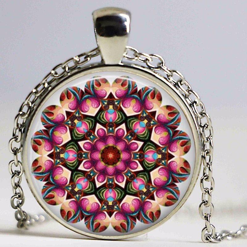 Mandala Necklace,Art Glass Dome Necklace Vintage Flower Henna Tattoo Blue Mandala Buddhism Jewerly Yoga Pendant