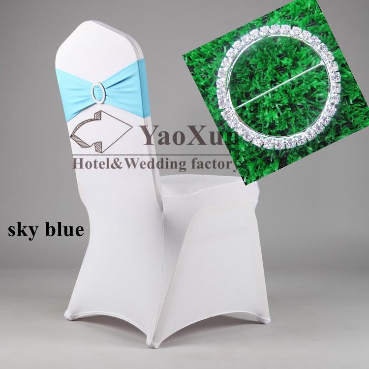 Sky Blue Color Spandex Chair Band With Diamond Buckle \ Spandex Chair Sash(China (Mainland))