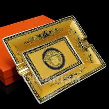 High-end Yellow Lace Pattern Quality Ceramic Cigar Ashtray 2 Slot(China (Mainland))