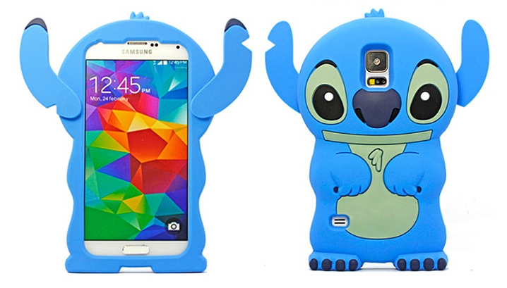 3D Lovely Cartoon Cute Ear fixed Blue&Pink Stitch Silicone Rubber Back Cover Case Samsung Galaxy S5 9600 - T-WELL INC. store