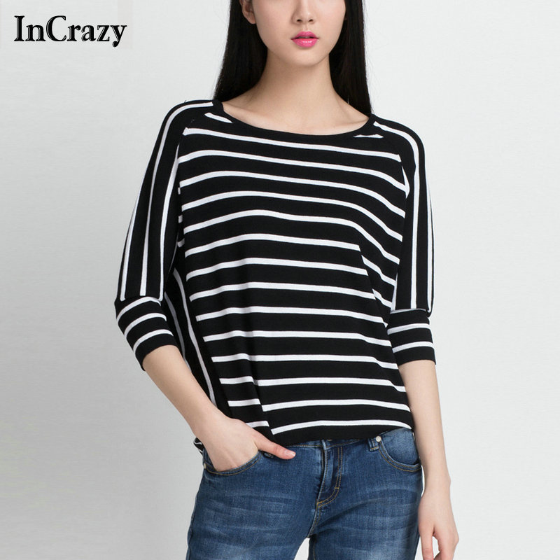 Round Neck Striped Printed White Black Ladies Loose Knitted Thin Pullovers Brand Newest 2015 Sweater Women - InCrazy store