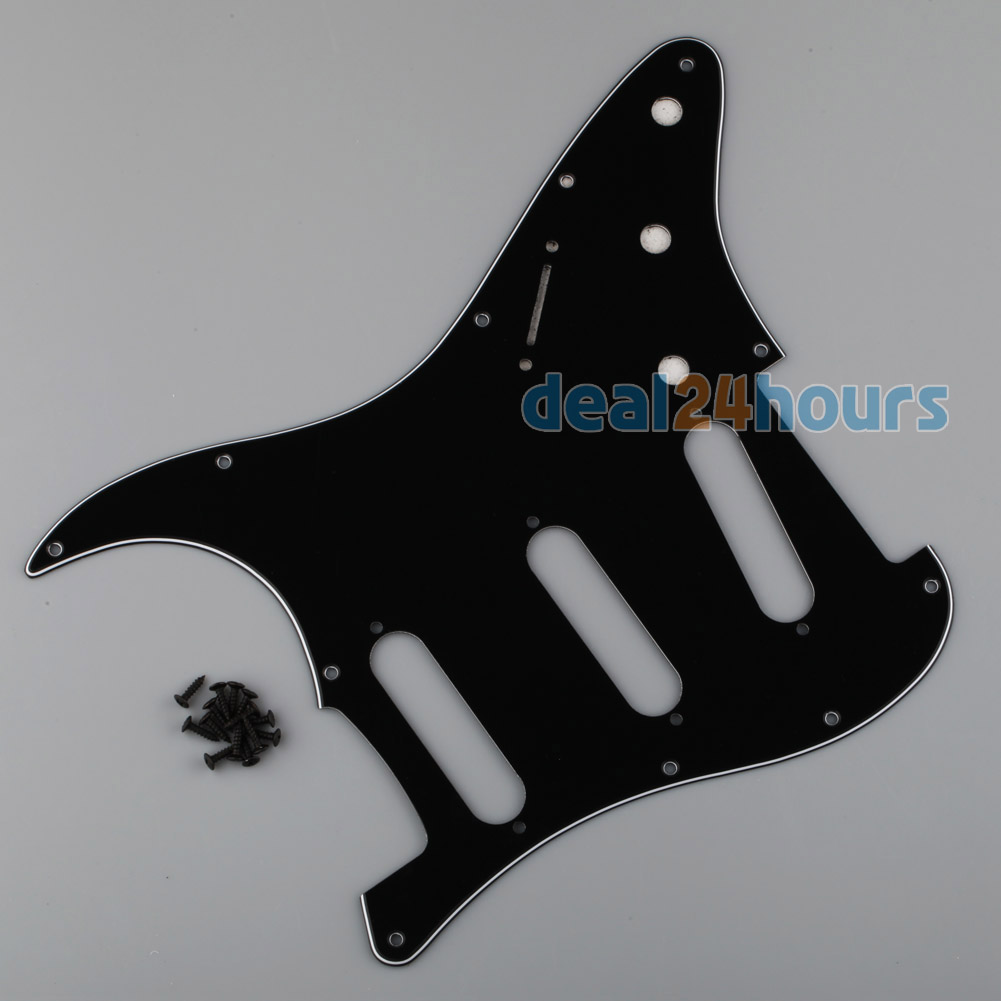 Black Pickguard 3-Ply PVC Guitar Scratch Plate For Stratocaster ST Strat SSS New Free Shipping!(China (Mainland))