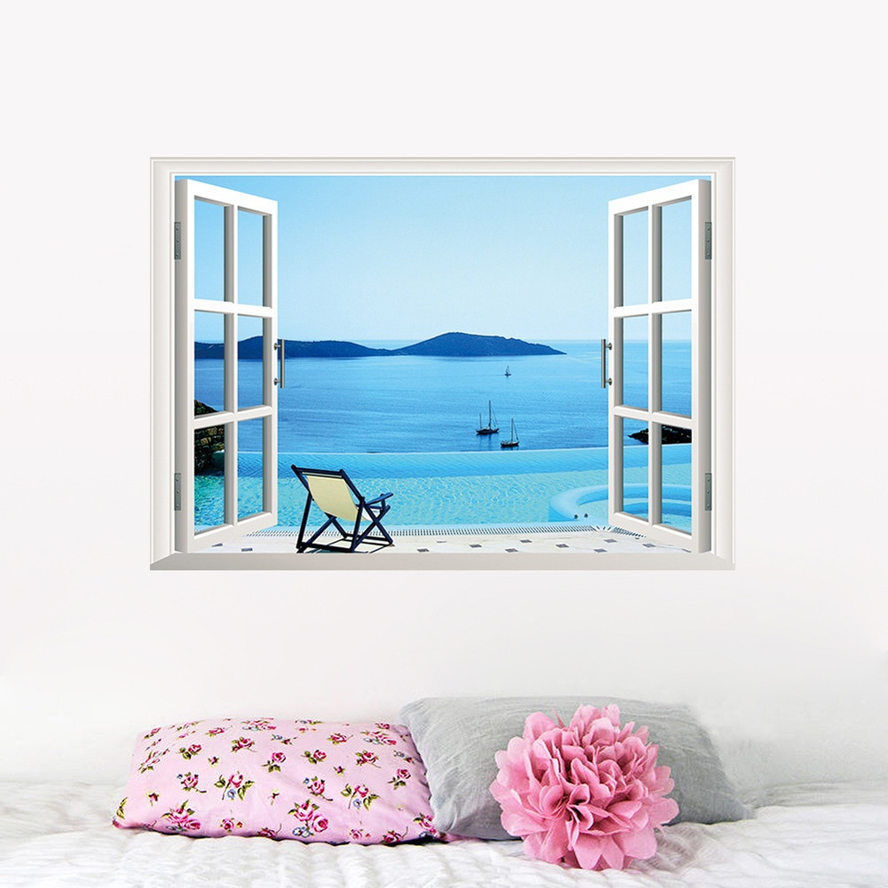 Calm sea boat beach 3d window view scenery removable pvc for Beach mural curtains