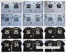 12 Ken Stabler 16 Jim Plunkett Throwback 32 Marcus Allen 34 Bo Retro Black White 25 Fred Biletnikoff(China (Mainland))
