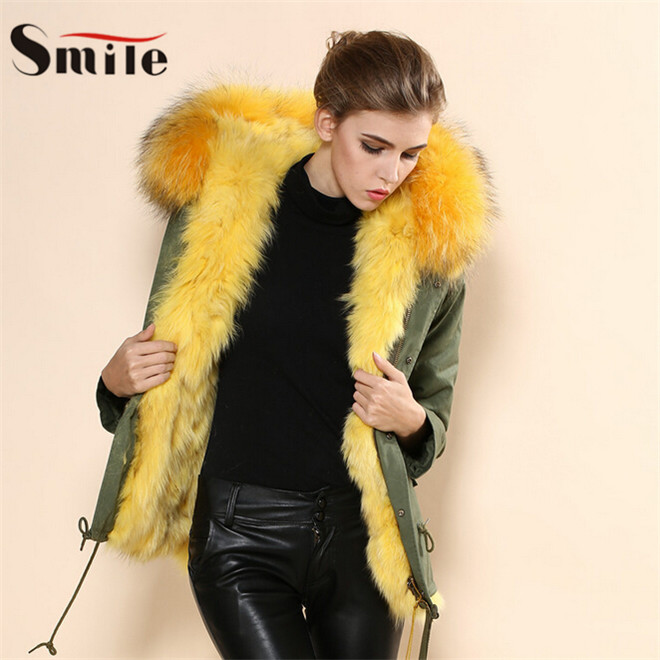 High Quality ! Women Yellow Natural Fox Fur Thick Warm Jacket Parka Short Coat with Hood Ladies Real Fox Fur Parkas Jackets 2015Одежда и ак�е��уары<br><br><br>Aliexpress