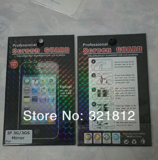 Mirror SCREEN PROTECTOR COVER Flim for iPhone 3G 3GS cell phone With retail package 10PCS/lot Free shipping Wholesale(China (Mainland))