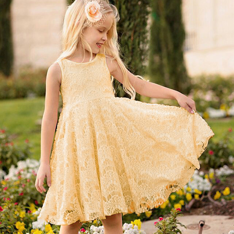 2016 New Style Princess Kids Girls Orange Solid Sleeveless Back Hollow Knee-Length Lace Floral Formal Ball Gown Party Dresses(China (Mainland))