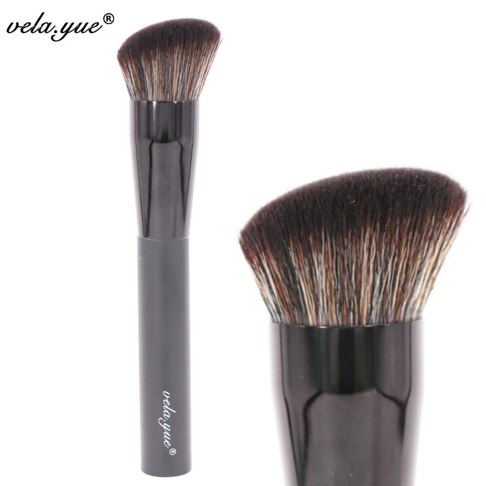 vela.yue Synthetic Rounded Slant Brush Multipurpose Face Powder Foundation Blush Makeup Brush Beauty Tool(Hong Kong)