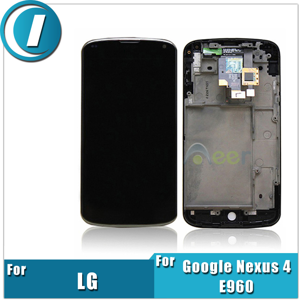 Newest LCD Display and Touch Screen Digitizer Assembly With Frame For LG Optimus Google Nexus 4 E960 Repair Replacement Parts(China (Mainland))