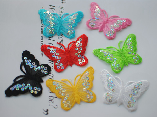 Custom Butterfly sequin embroidered patch,IRON ON PATCHES,VELCRO LABEL,accept small order custom work(China (Mainland))
