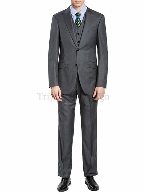 Triple A Design Men's 3 piece 2 Button Peak Lapel Slim Trim Fit Dress Suite Grey(China (Mainland))