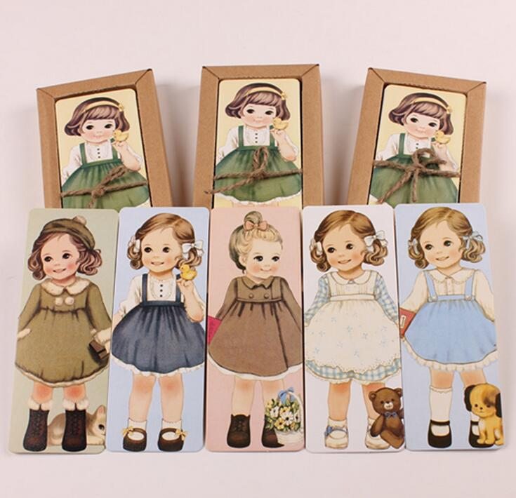 30pcs/pack Cartoon doll girls paper bookmarks for books Cute rectangular vintage book mark office school supplies(China (Mainland))