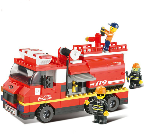 Brand New High Quality ABS Fire Truck Brick Toys Kids Educational Building Blocks Set of 281 Pieces