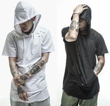S-2XL hip hop mens big and tall streetwear big bang kpop hoody kanye west distressed extended plain mens short sleeve hoodies(China (Mainland))