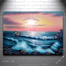Ocean Sunset Sea Waves Oil Painting Naturalism Seascape Wholesale High Quality Painting Free Shipping Pop Free Shipping H(China (Mainland))