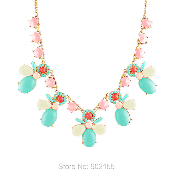 Fashion Jewelry Cute style Alloy and Candy Simulated Gemstone Flower Collar Necklace Perfume Women(China (Mainland))