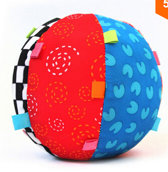 Free shipping, 2015 New Arrivals Colorful Baby Children's Ring Bell Ball Baby Toy Ball, Educational cotton Bell Ball Toys(China (Mainland))