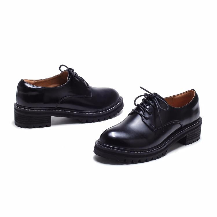 Genuine leather Oxfords Shoes Spring Vintage Tassel Platform Brogue Shoes Woman British Style lace-up Flats DWD1180