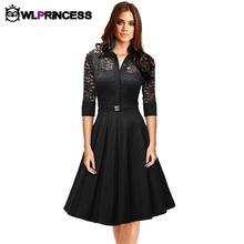 Owlprincess Autumn Audrey Hepburn vintage women Lace Waist Black big swing robe high quality dress Lady rockabilly party dresses