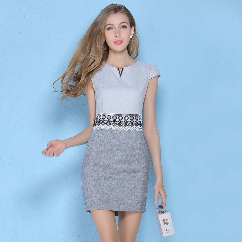 Women Summer Dress European Fashion Women's Clothing Ol Business Attire Short-Sleeved Sexy Dress Cotton And Linen Pencil Dress(China (Mainland))