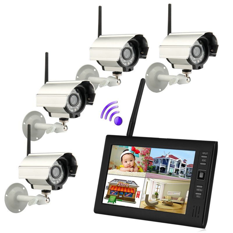 7 inch TFT Digital 2.4G Wireless Cameras Audio Video Baby Monitors 4CH Quad DVR Security System With IR night light Cameras(China (Mainland))