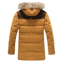 Men s Long Thicken Duck Down Jacket Warm Winter Coat Men Fashion Brand Hooded Wadded Overcoat