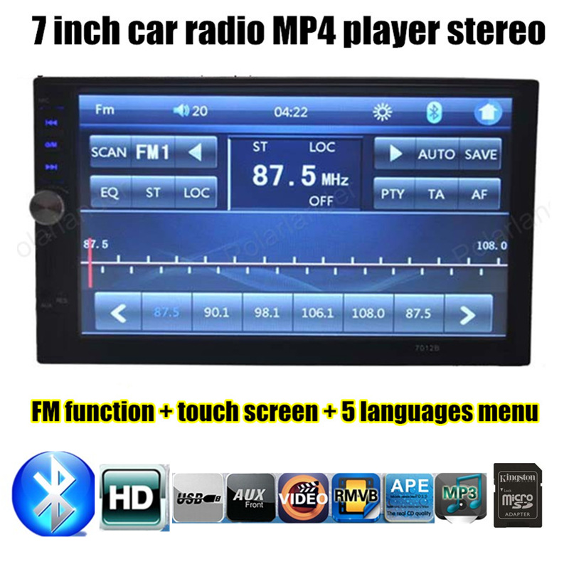 universal 2 din size Auxin 7 inch touch screen Car radio bluetooth player MP4 MP5 HD backing-up priority FM USB TF
