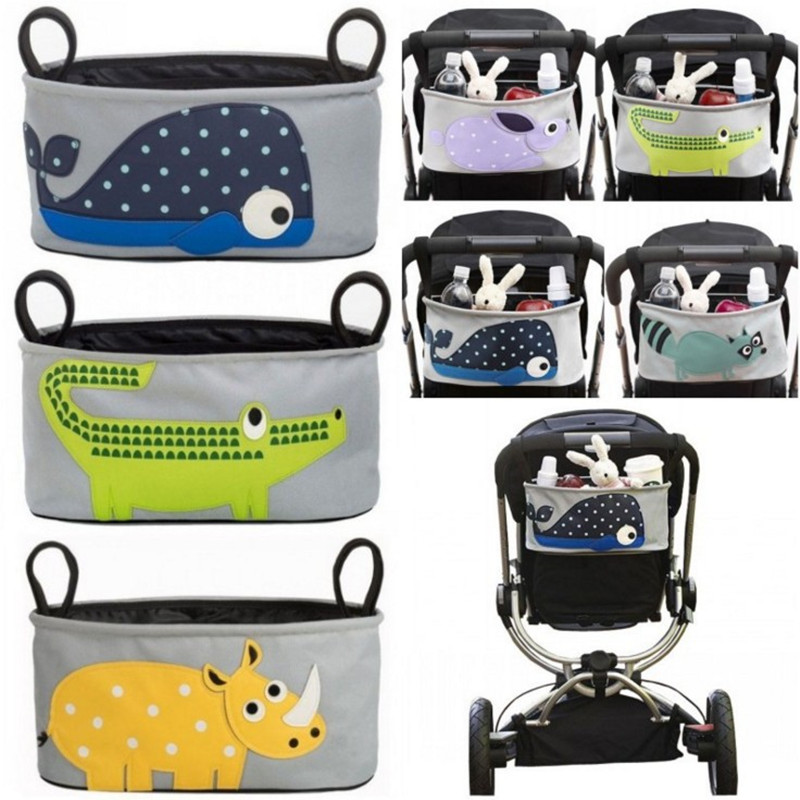 2016 Baby strollers Accessories stroller bag Carriage Cart Bottle Diaper Bag Polyester Newborn Nappy Cartoon waterproof pouch(China (Mainland))
