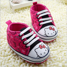 2015 Fashion Baby Girls Shoes Hello Kitty Toddler Baby Prewalker Shoes Sapato Lace-Up Baby Sport Shoes Sneakers